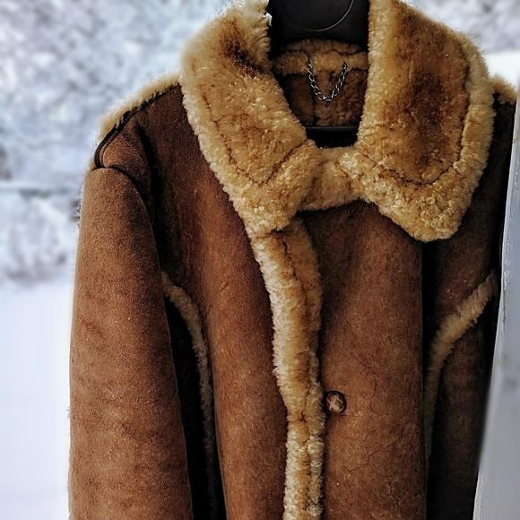 14defea24 Vintage Men's Shearling Leather Coat